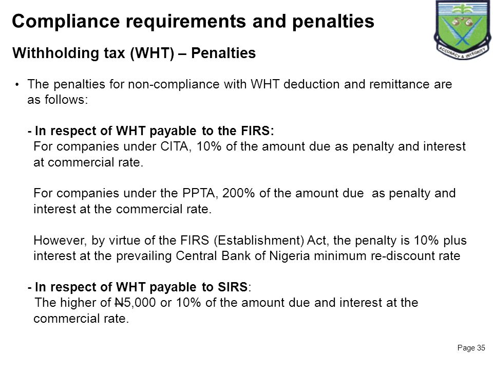 Compliance requirements and penalties