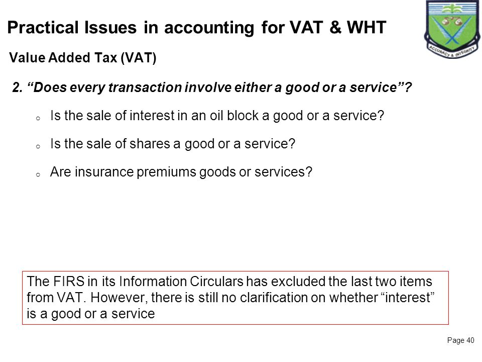 Practical Issues in accounting for VAT & WHT