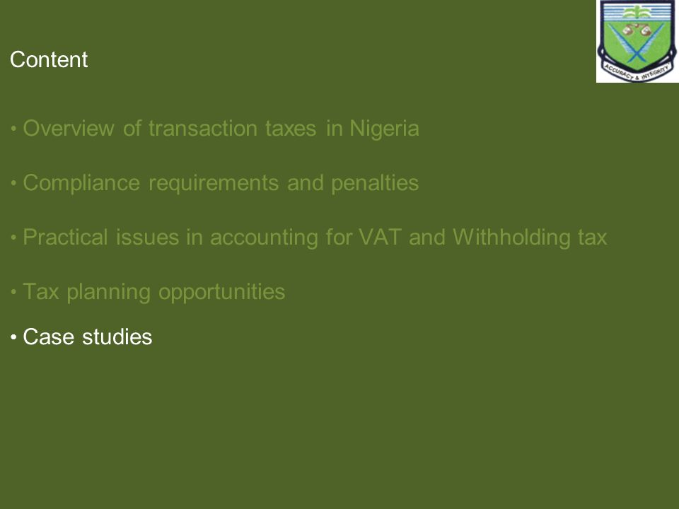 Overview of transaction taxes in Nigeria