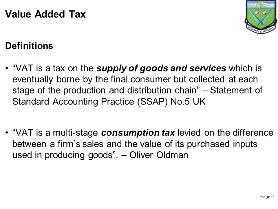 Value Added Tax Definitions