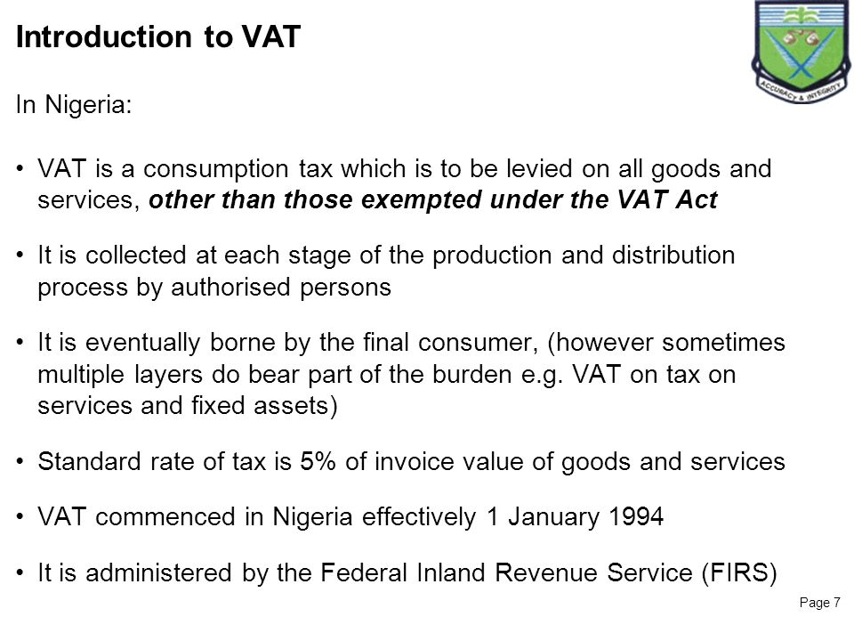 Introduction to VAT In Nigeria:
