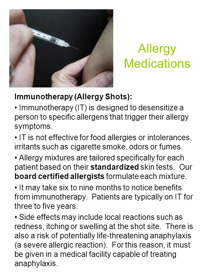 Allergy Medications Immunotherapy (Allergy Shots):