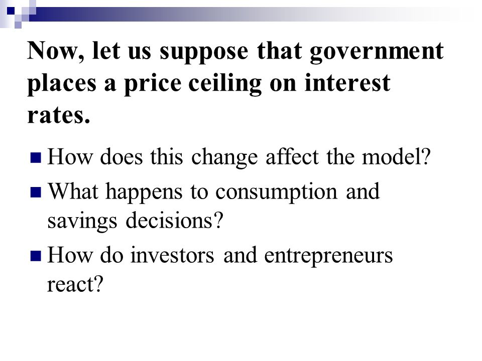 Now, let us suppose that government places a price ceiling on interest rates.