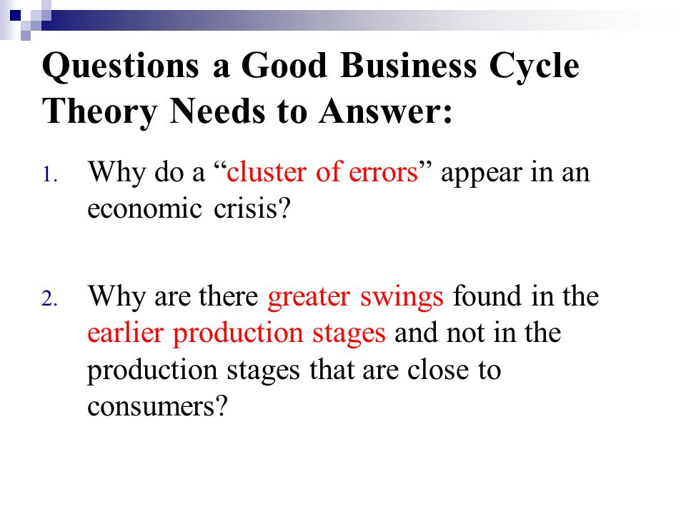 Questions a Good Business Cycle Theory Needs to Answer: