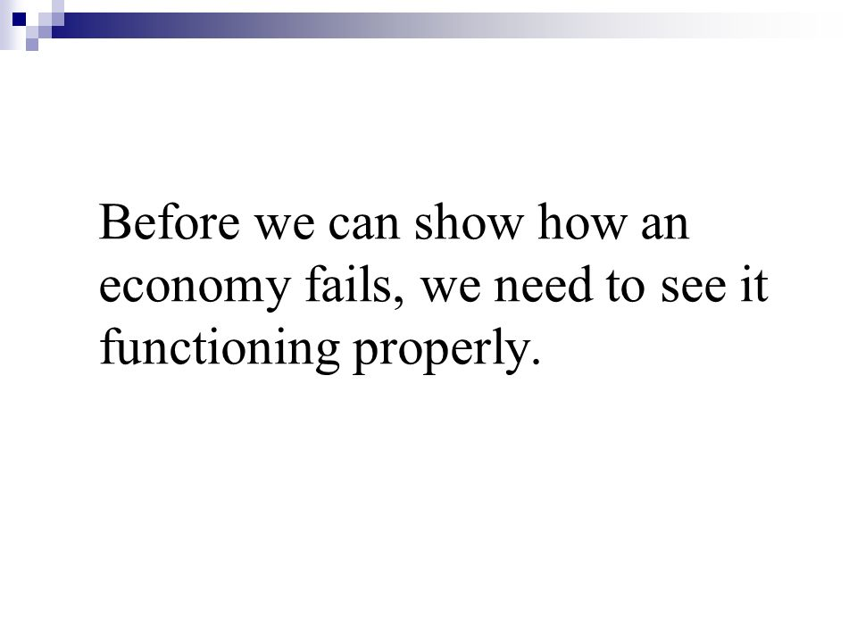 Before we can show how an economy fails, we need to see it functioning properly.