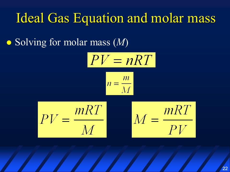 Ideal Gas Equation and molar mass