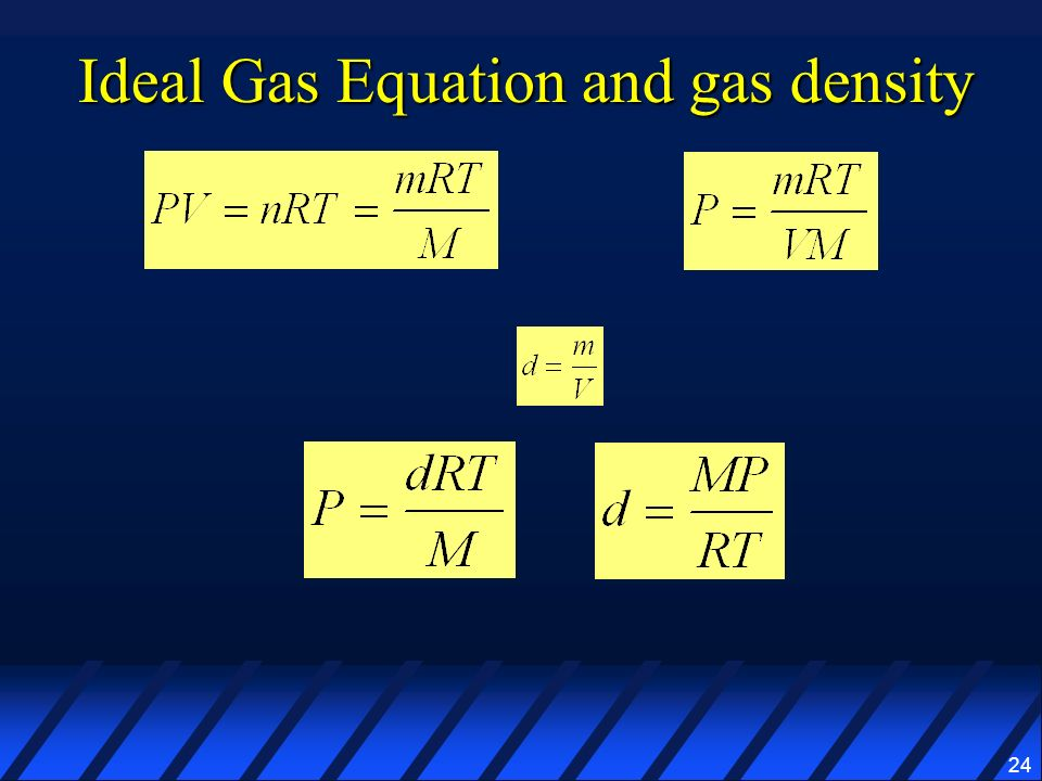 Ideal Gas Equation and gas density