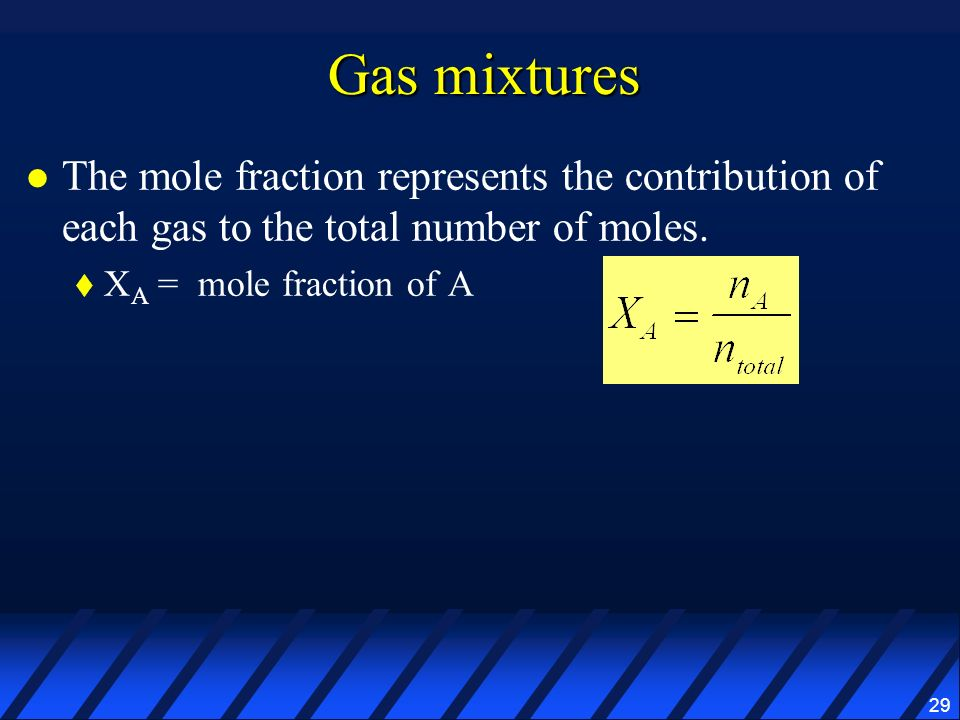 Gas mixtures The mole fraction represents the contribution of each gas to the total number of moles.