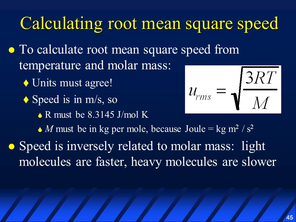 Calculating root mean square speed