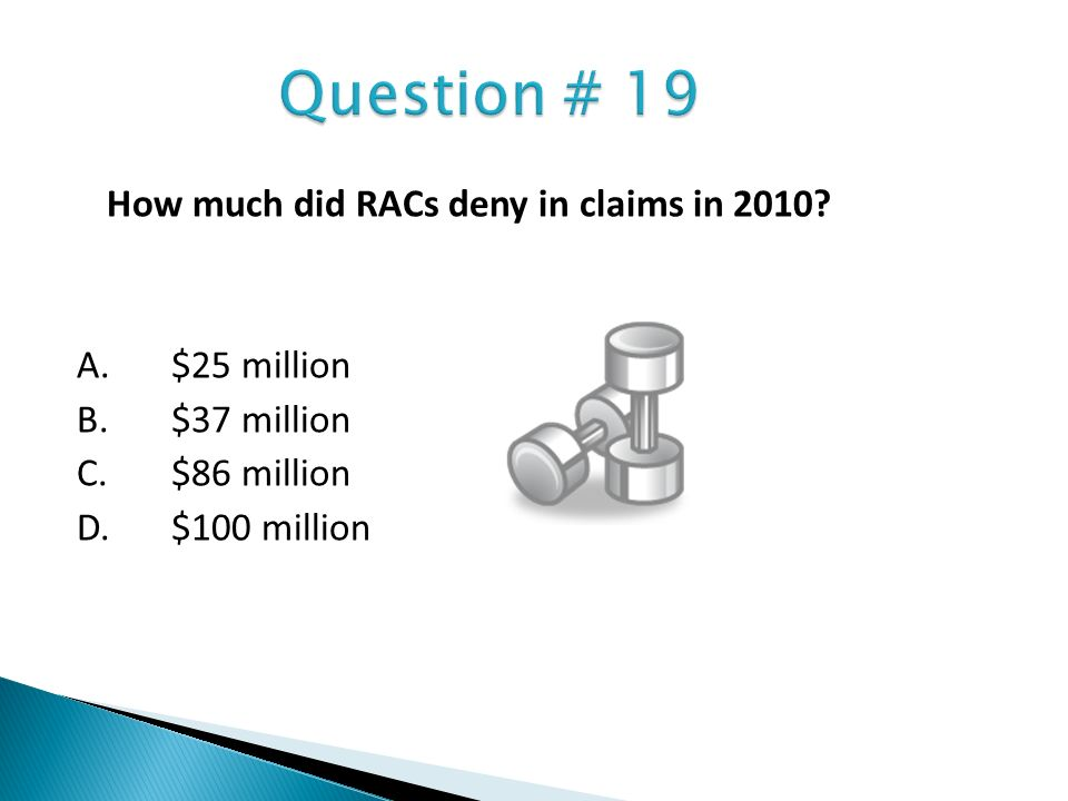Question # 19 How much did RACs deny in claims in 2010.