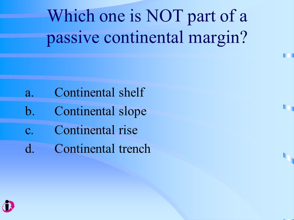Which one is NOT part of a passive continental margin