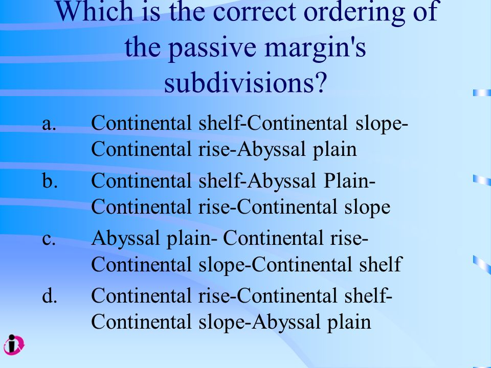 Which is the correct ordering of the passive margin s subdivisions