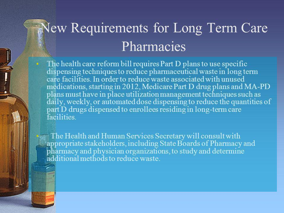 New Requirements for Long Term Care Pharmacies