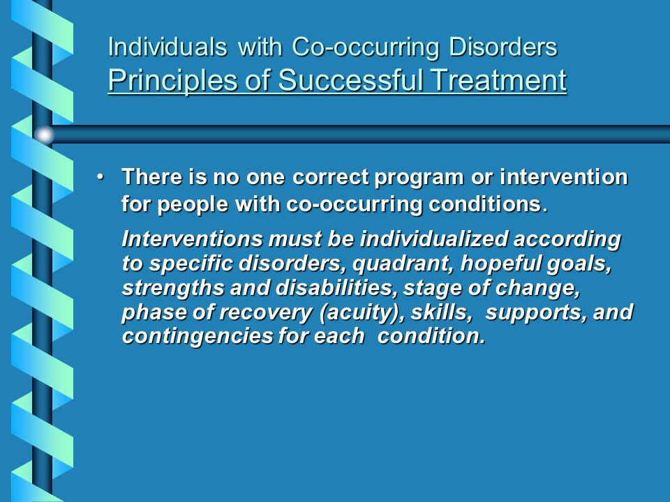 Individuals with Co-occurring Disorders Principles of Successful Treatment