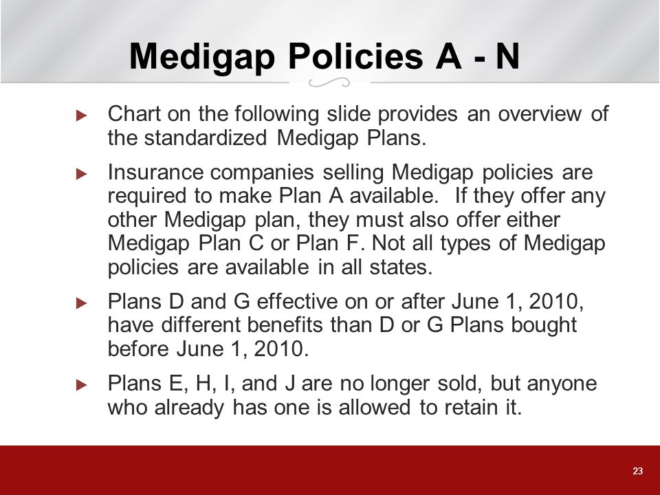 Medigap Policies A - N Chart on the following slide provides an overview of the standardized Medigap Plans.
