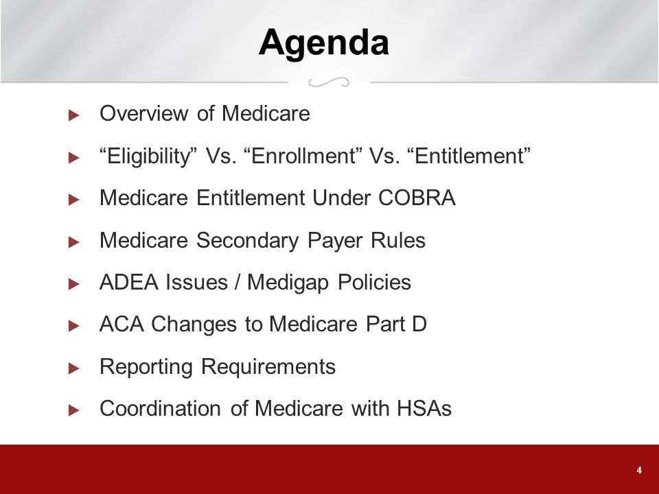 Agenda Overview of Medicare
