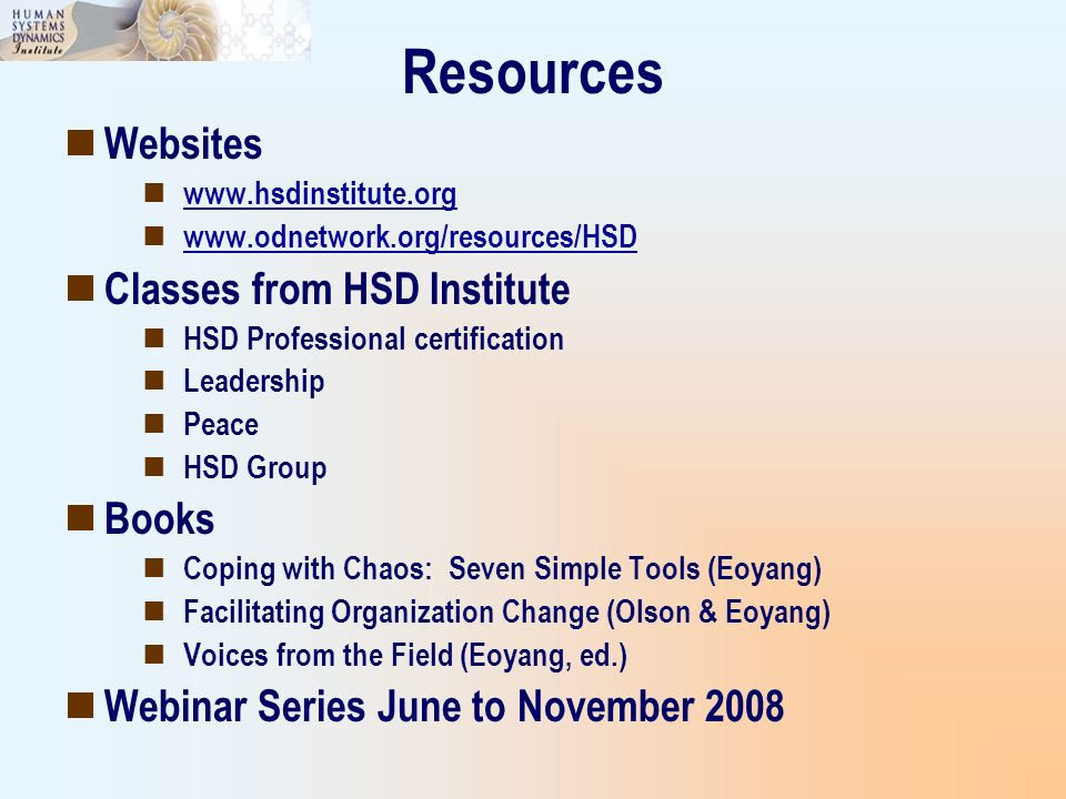 Resources Websites Classes from HSD Institute Books