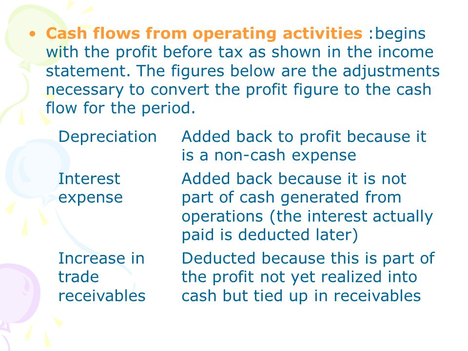Cash flows from operating activities :begins with the profit before tax as shown in the income statement. The figures below are the adjustments necessary to convert the profit figure to the cash flow for the period.