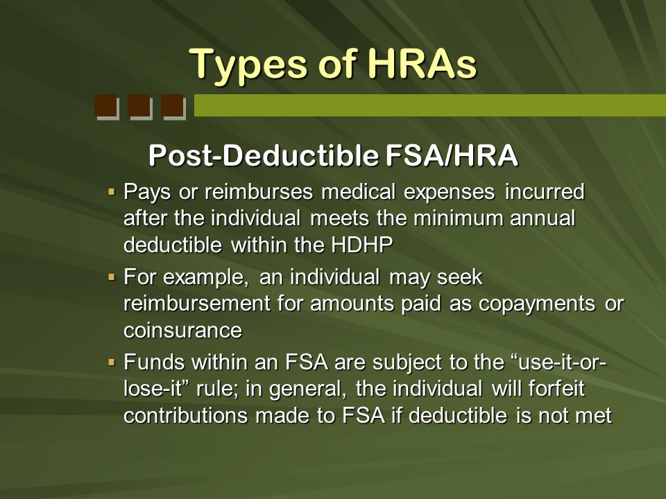 Post-Deductible FSA/HRA