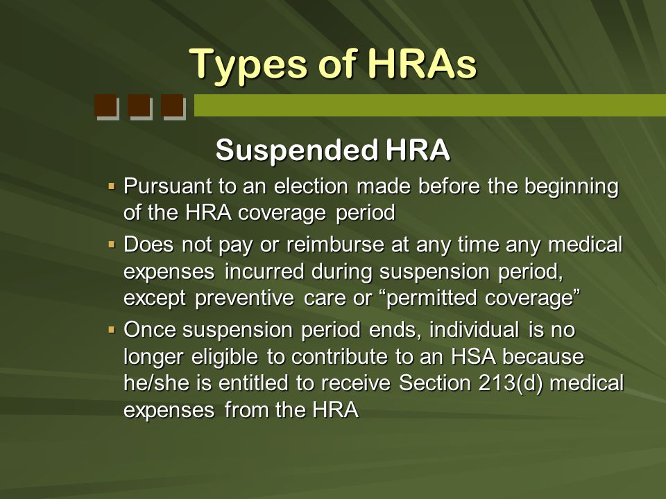 Types of HRAs Suspended HRA