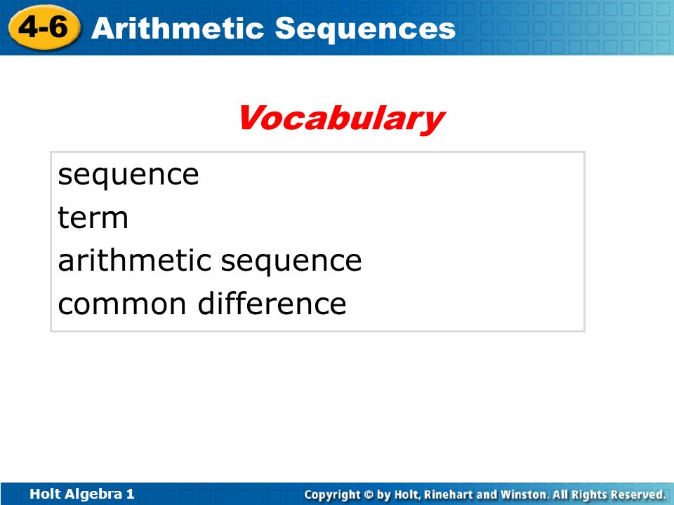 Vocabulary sequence term arithmetic sequence common difference