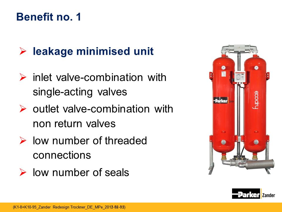 Benefit no. 1 leakage minimised unit. inlet valve-combination with single-acting valves. outlet valve-combination with non return valves.