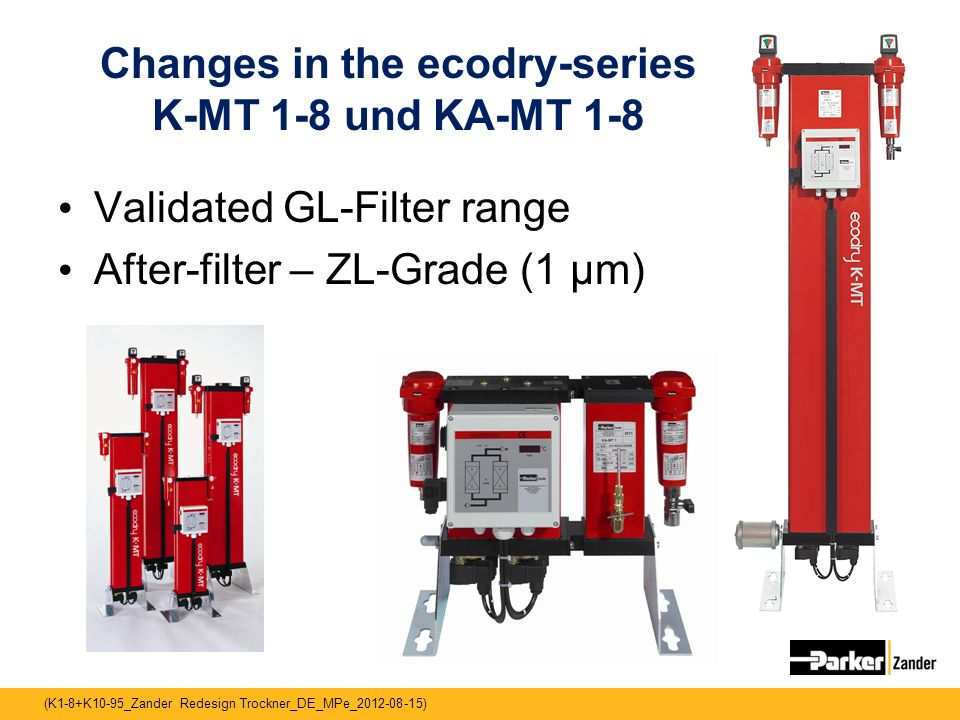 Changes in the ecodry-series K-MT 1-8 und KA-MT 1-8