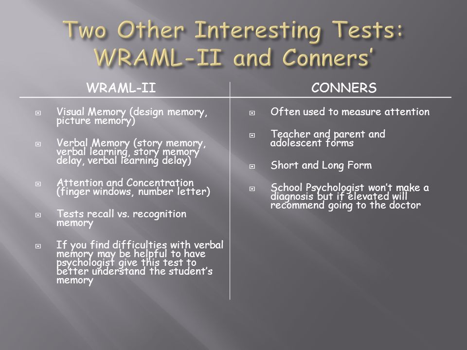 Two Other Interesting Tests: WRAML-II and Conners'