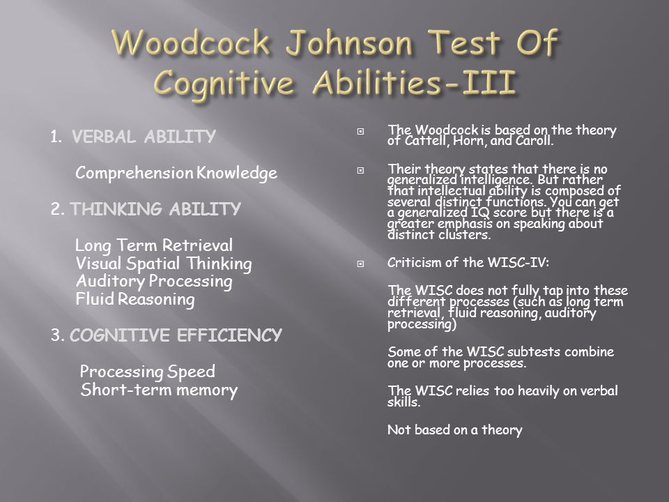Woodcock Johnson Test Of Cognitive Abilities-III