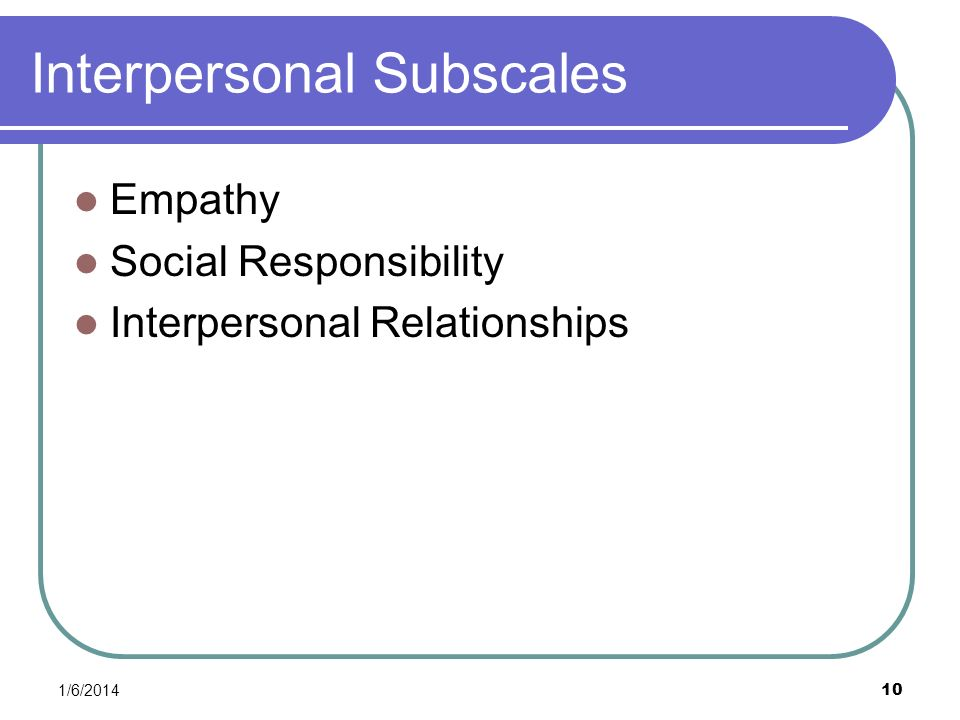 Interpersonal Subscales