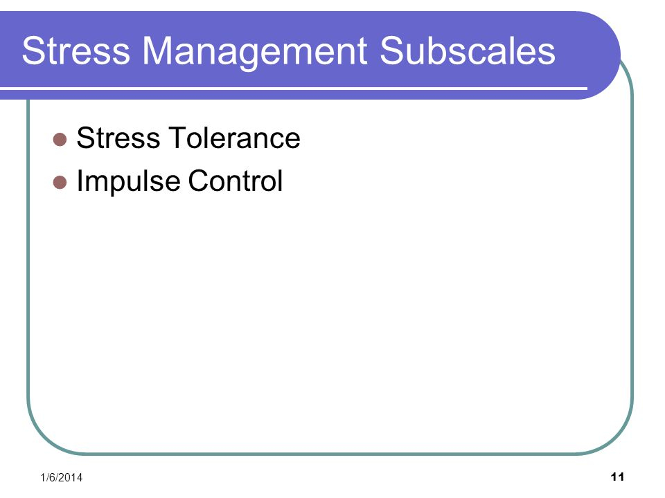 Stress Management Subscales