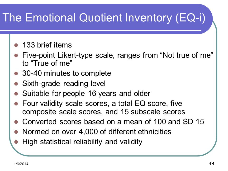 The Emotional Quotient Inventory (EQ-i)