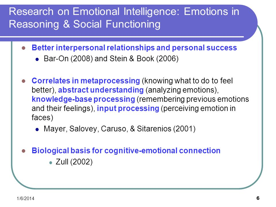 Research on Emotional Intelligence: Emotions in Reasoning & Social Functioning