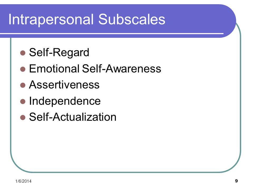 Intrapersonal Subscales