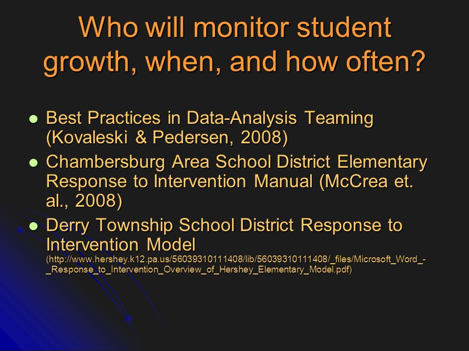 Who will monitor student growth, when, and how often