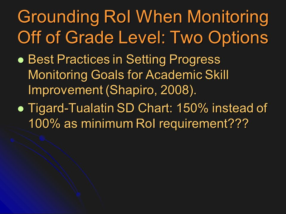 Grounding RoI When Monitoring Off of Grade Level: Two Options