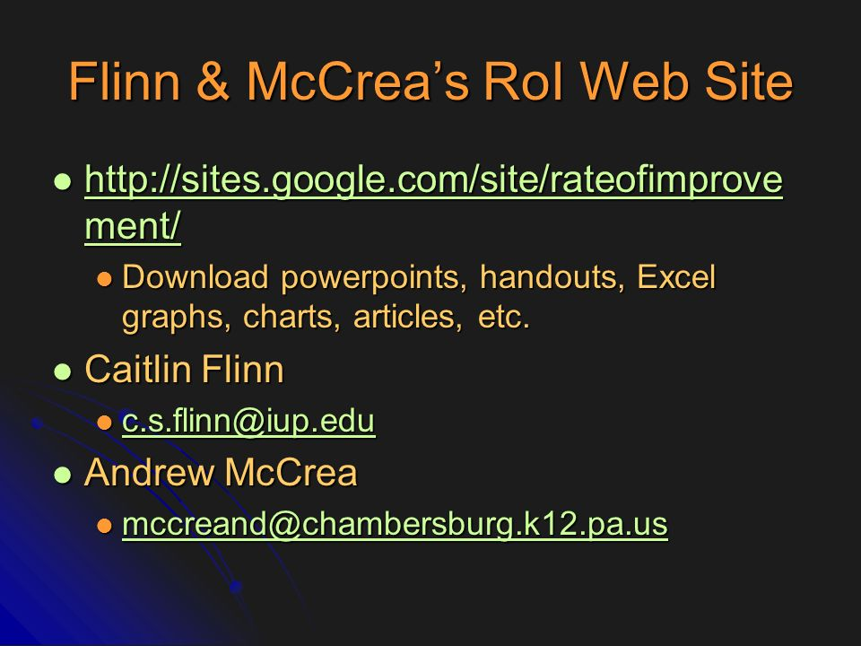 Flinn & McCrea's RoI Web Site