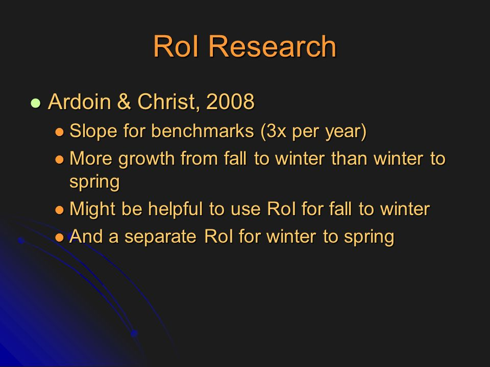 RoI Research Ardoin & Christ, 2008 Slope for benchmarks (3x per year)