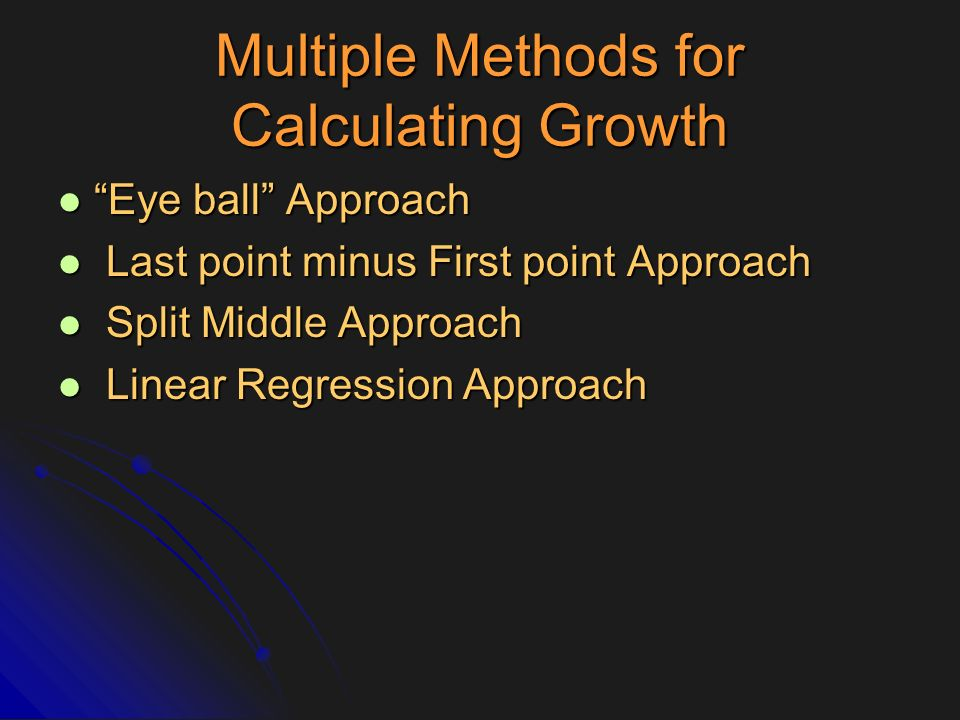 Multiple Methods for Calculating Growth
