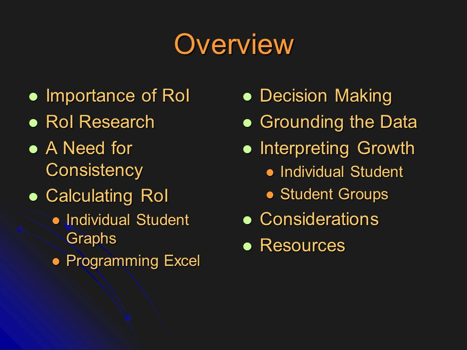 Overview Importance of RoI RoI Research A Need for Consistency