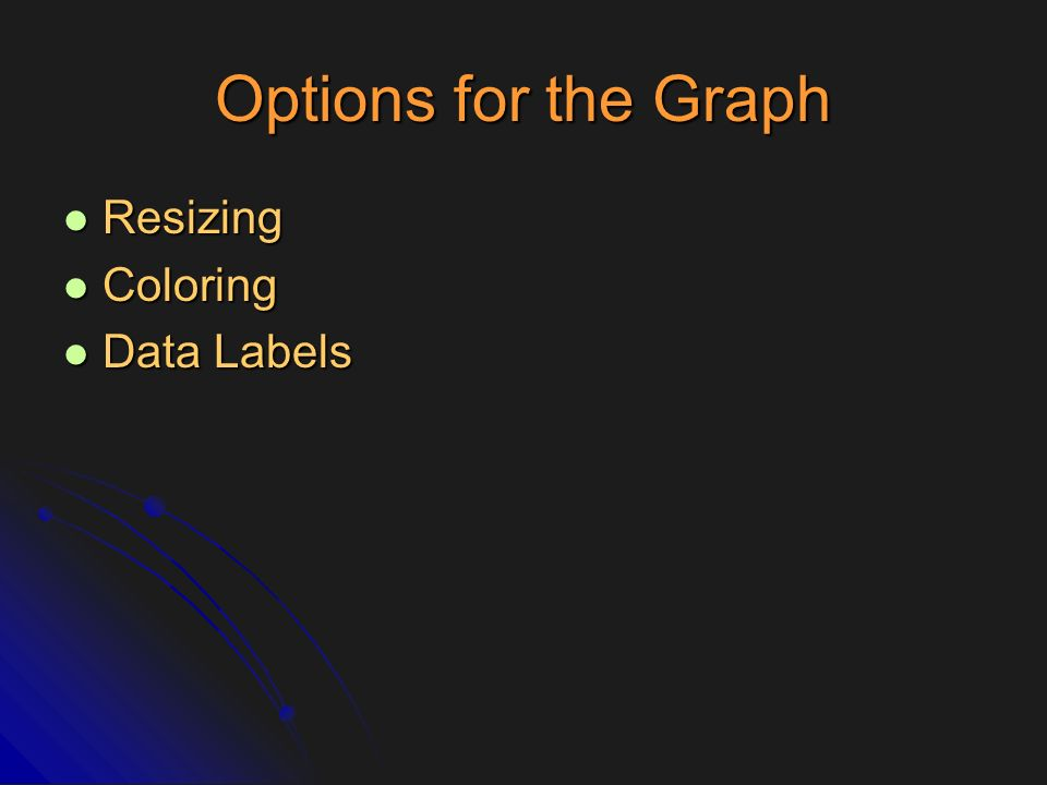 Options for the Graph Resizing Coloring Data Labels