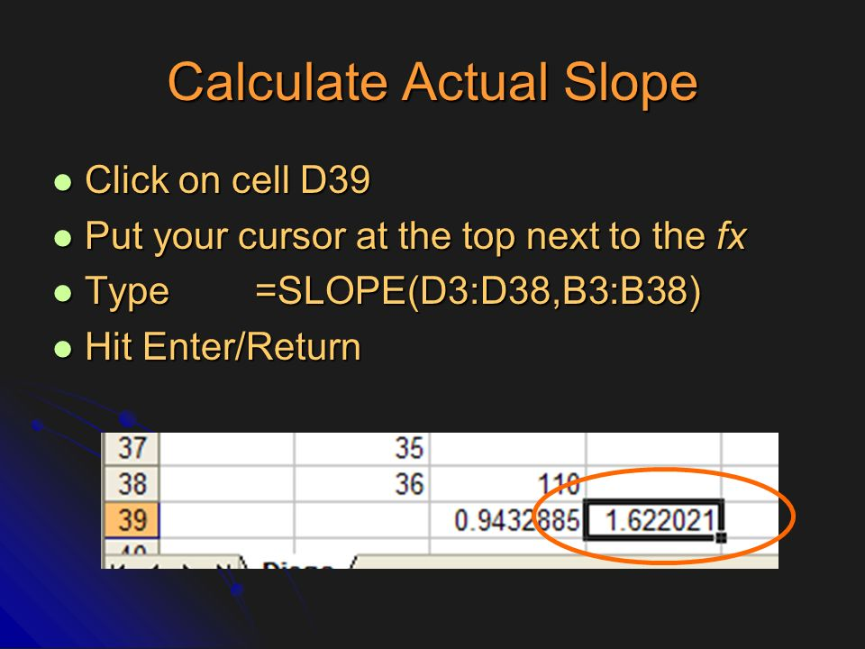 Calculate Actual Slope