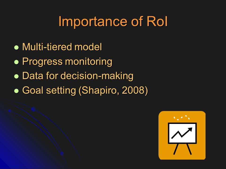 Importance of RoI Multi-tiered model Progress monitoring