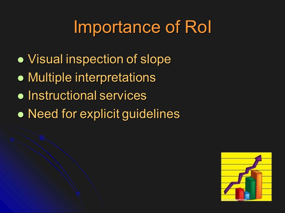 Importance of RoI Visual inspection of slope Multiple interpretations