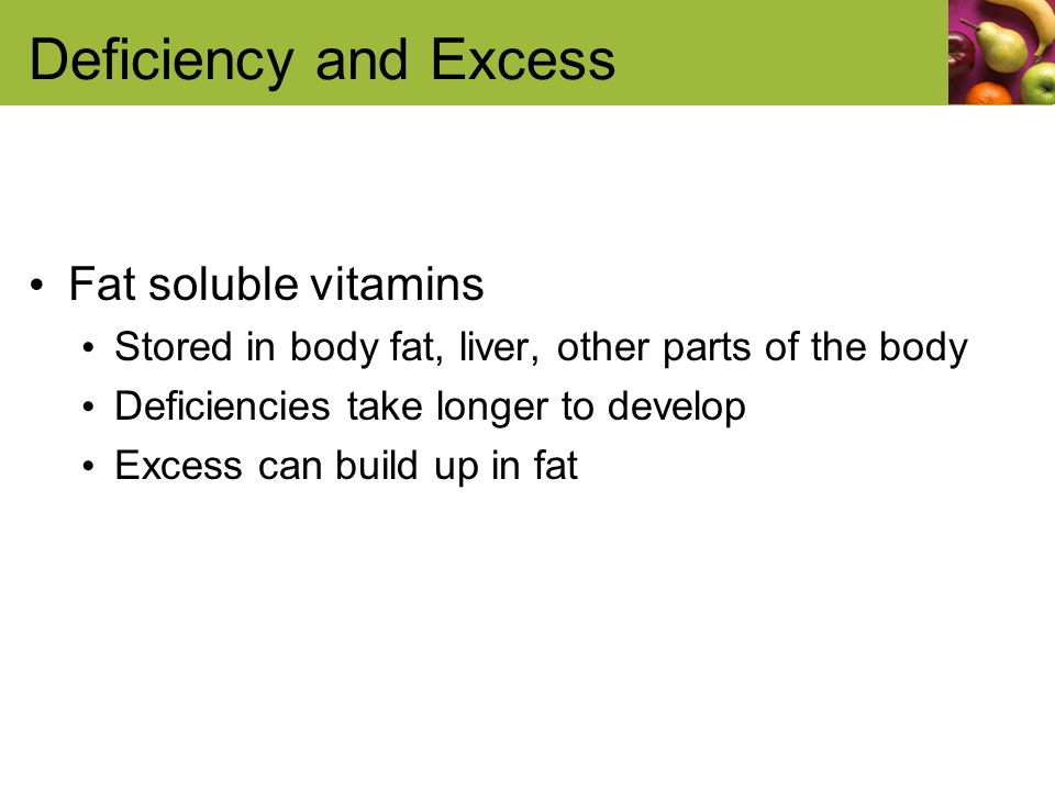 Deficiency and Excess Fat soluble vitamins