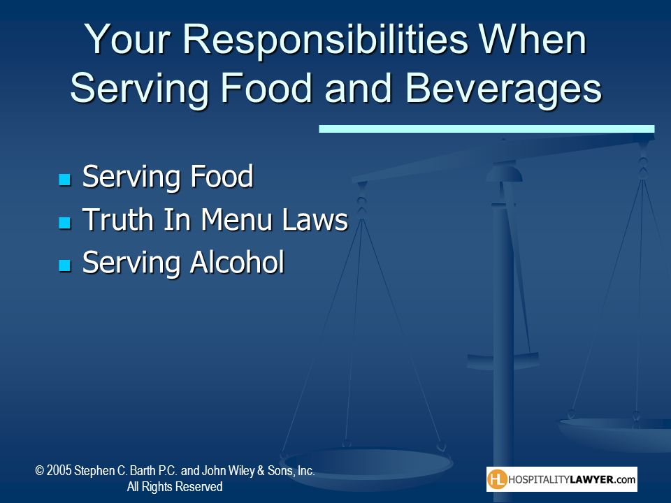 Your Responsibilities When Serving Food and Beverages