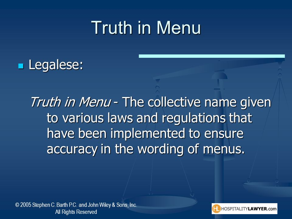 Truth in Menu Legalese: