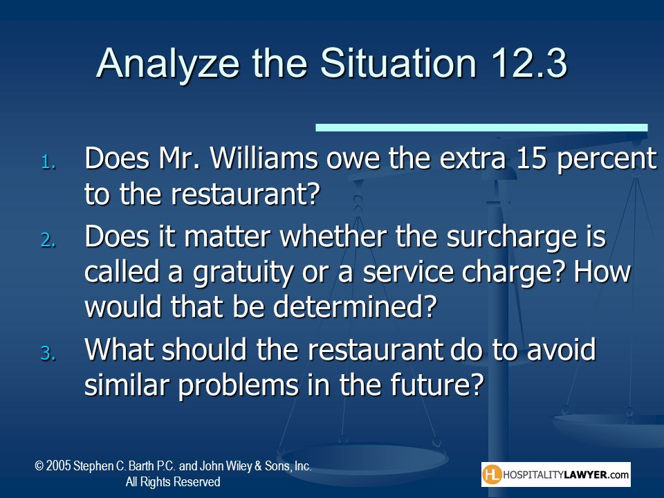 Analyze the Situation 12.3 Does Mr. Williams owe the extra 15 percent to the restaurant