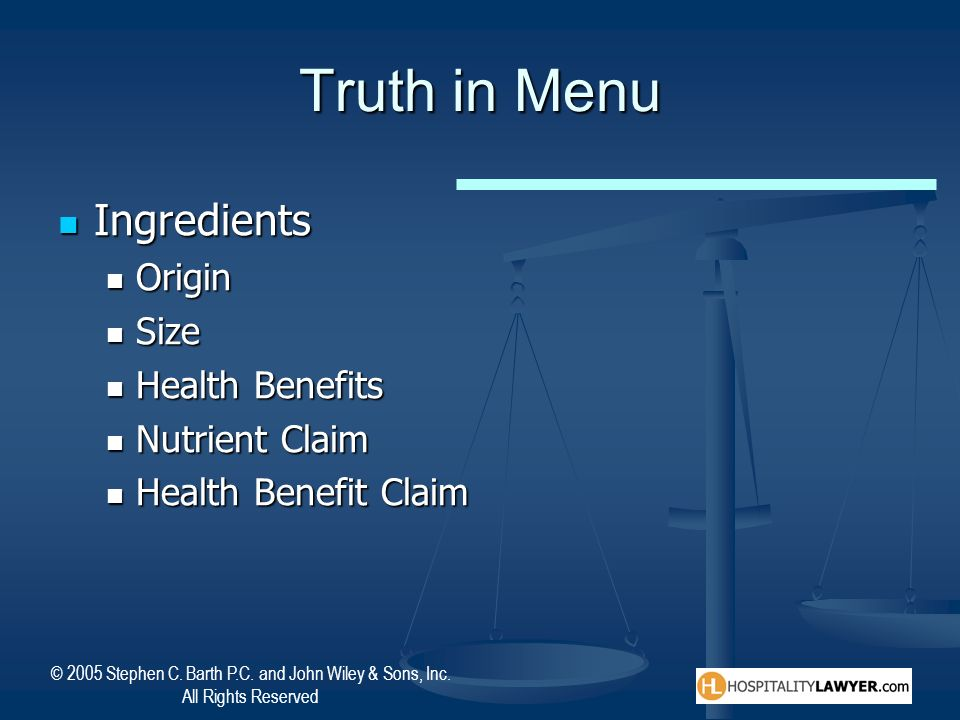 Truth in Menu Ingredients Origin Size Health Benefits Nutrient Claim