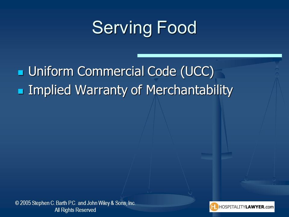Serving Food Uniform Commercial Code (UCC)